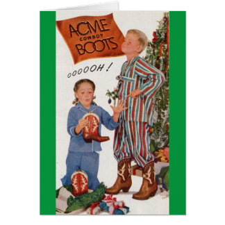 Cartes bottes de cowboy du début des années 50 pour Noël