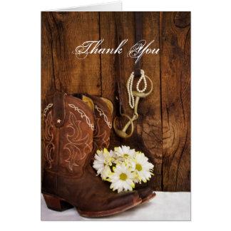 Cartes Bottes de cowboy, marguerites et Merci de peu de