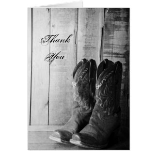 Cartes Bottes de cowboy rustiques épousant le Merci de
