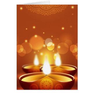 Cartes Bougies d'or de célébration de Diwali
