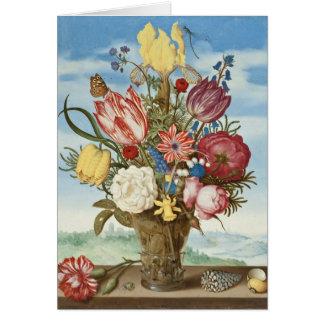 Cartes Bouquet des fleurs sur un rebord