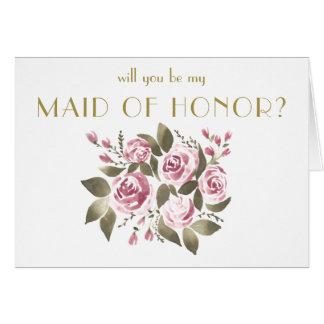 Cartes Bouquet rose de vin vous serez ma domestique