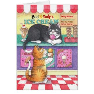 Cartes Bourgeon d'anniversaire de crème glacée de chats