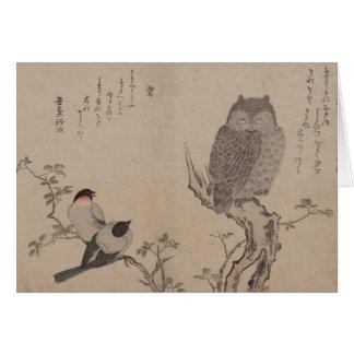 Cartes Bouvreuil et hibou à cornes - Kitagawa Utamaro