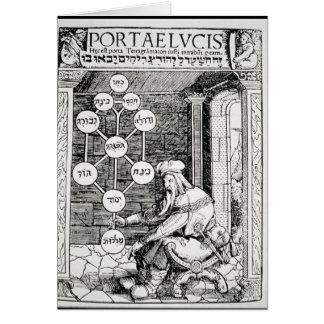 Cartes Cabbalist juif tenant un sephiroth