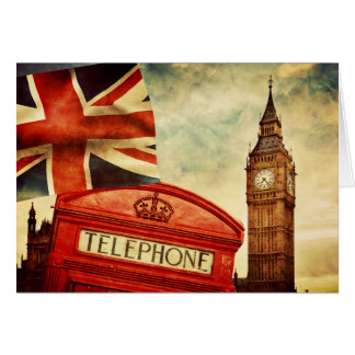 Cartes Cabine téléphonique rouge et Big Ben à Londres,