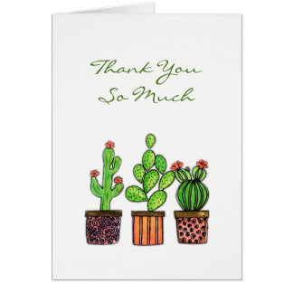 Cartes Cactus mignon d'aquarelle dans des pots
