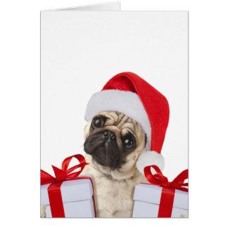 Cartes Cadeaux de carlin - chien Claus - carlins drôles -