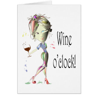 Cartes Cadeaux humoristiques d'art de vin heure de vin