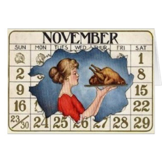 Cartes Calendrier de thanksgiving