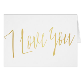 "Cartes Calligraphie chic moderne d'or ""je t'aime """