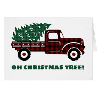 Cartes Camion rouge et vert EDITABLE d'arbre de Noël de