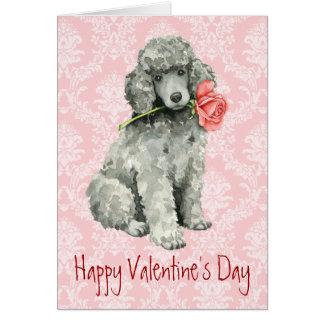 Cartes Caniche standard de rose de Valentine
