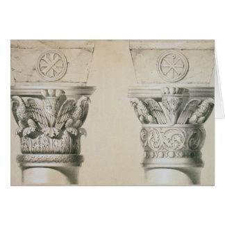 Cartes Capitaux bizantins des colonnes dans la nef du