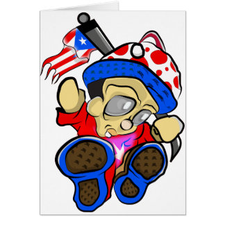 Cartes Caractère mignon de Porto Rico avec le drapeau