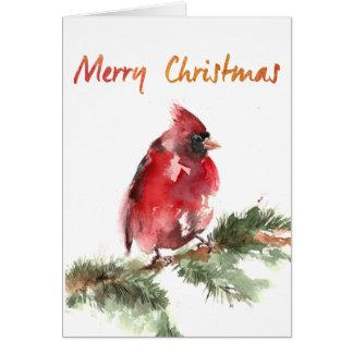 Cartes cardinal rouge d'aquarelle de Joyeux Noël