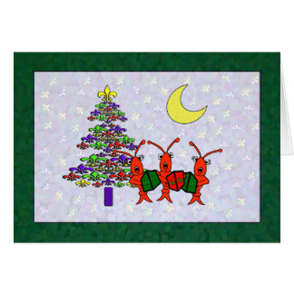 Cartes Caroling Crawfish Fleur de Lis Christmas