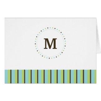 Cartes Carte-turquoise vide de monogramme et de rayures