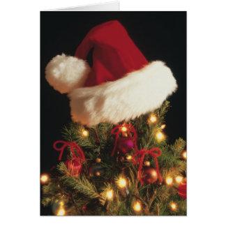 Cartes Casquette de Père Noël sur l'arbre de Noël