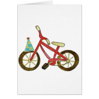 Cartes Casquette rouge d'anniversaire de bicyclette