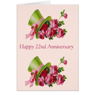Cartes Casquette supérieur et fleurs, 22ème anniversaire