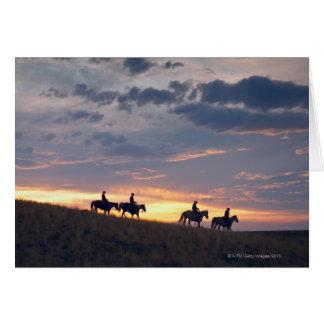 Cartes Cavaliers de Horseback au coucher du soleil 2