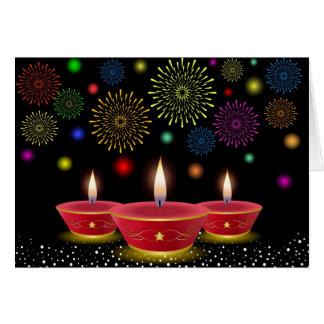 Cartes Célébrations de Diwali avec des lampes à lueur et