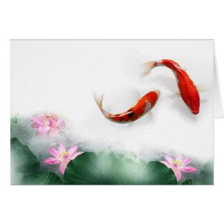 Cartes Cercle de zen oriental Feng Shui Koi et Lotus de
