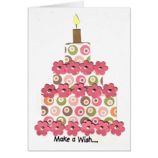 Cartes Cercles avec le gâteau rose de fleurs