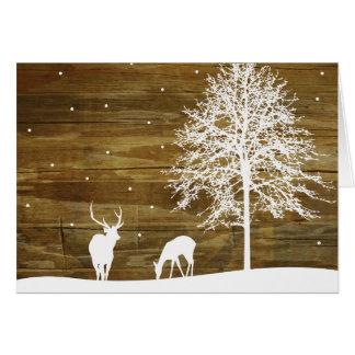 Cartes Cerfs communs d'hiver et neige blancs - bois