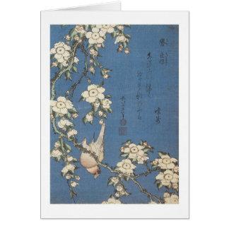 Cartes Cerise et bouvreuil pleurants, Hokusai, 1834