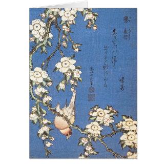 Cartes Cerise et bouvreuil pleurants par Hokusai