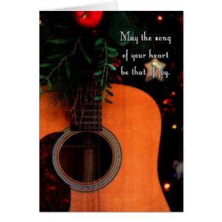 Cartes Chanson joyeuse de Noël, guitare acoustique de