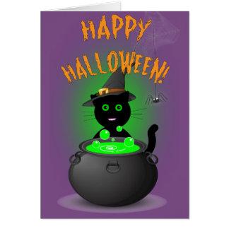 Cartes Chariot mignon de Halloween de sorcière de chat