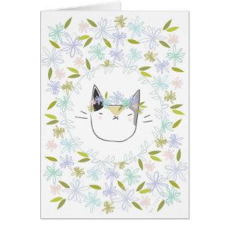 Cartes Chat de calicot avec des fleurs sauvages