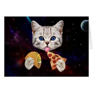 Cartes Chat de l'espace avec le taco et la pizza