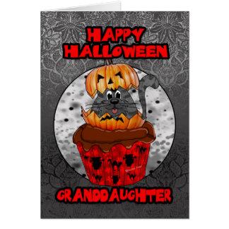Cartes chat de petit gâteau de Halloween de petite-fille,