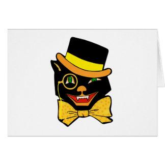 Cartes Chat noir dans un casquette supérieur