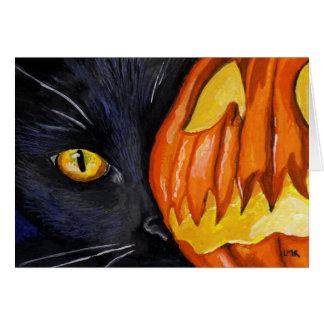 Cartes Chat noir et citrouille de Halloween