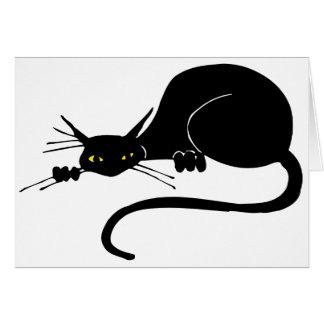 Cartes Chat noir gracieux d'anniversaire