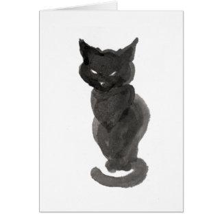 Cartes Chat noir se reposant