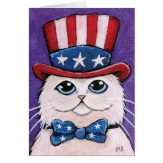 Cartes Chat persan blanc patriotique | heureux 4 juillet