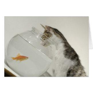 Cartes Chat regardant des poissons dans le bocal à