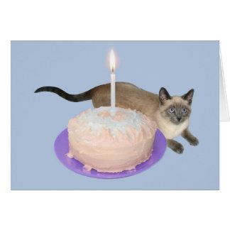 Cartes Chat siamois avec le gâteau d'anniversaire