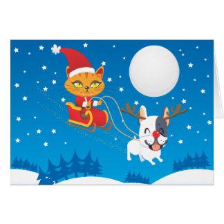 Cartes Chat Sleigh de Père Noël