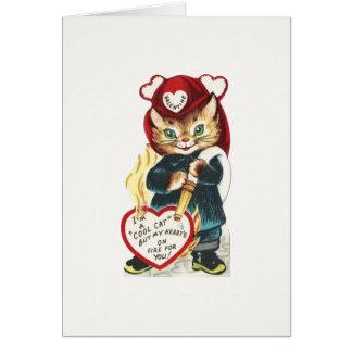 Cartes Chat vintage Valentine de sapeur-pompier