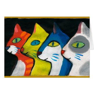 Cartes chats colorés dessinés dans le profil