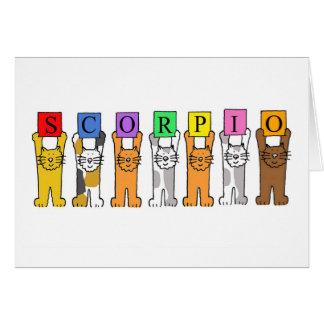 Cartes Chats d'anniversaire de zodiaque de Scorpion