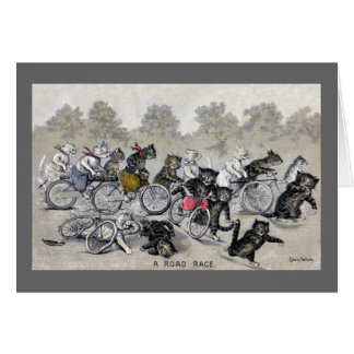 Cartes Chats d'équitation de bicyclette