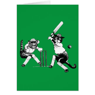 Cartes Chats drôles jouant au cricket